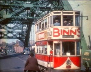 T tram over tyne bridge before 1950